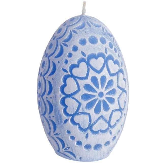 "Świeca ""Wielkanoc - Pisanka Ażurowe Serca"", niebieska, Bartek-Candles, 75 mm"