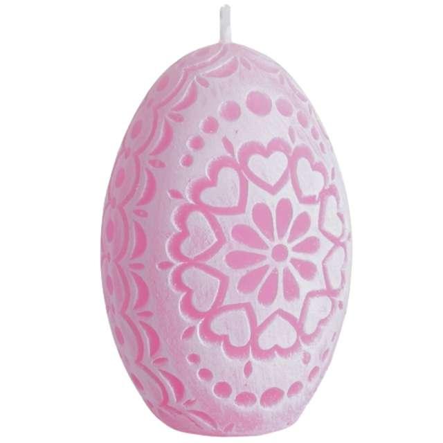 """Świeca """"Wielkanoc - Pisanka Ażurowe Serca"""", różowa, Bartek-Candles, 75 mm"""