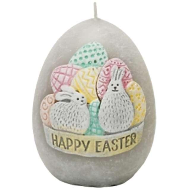 """Świeca """"Wielkanoc - Happy Easter"""", szara, Bartek-Candles, 45/60 mm"""