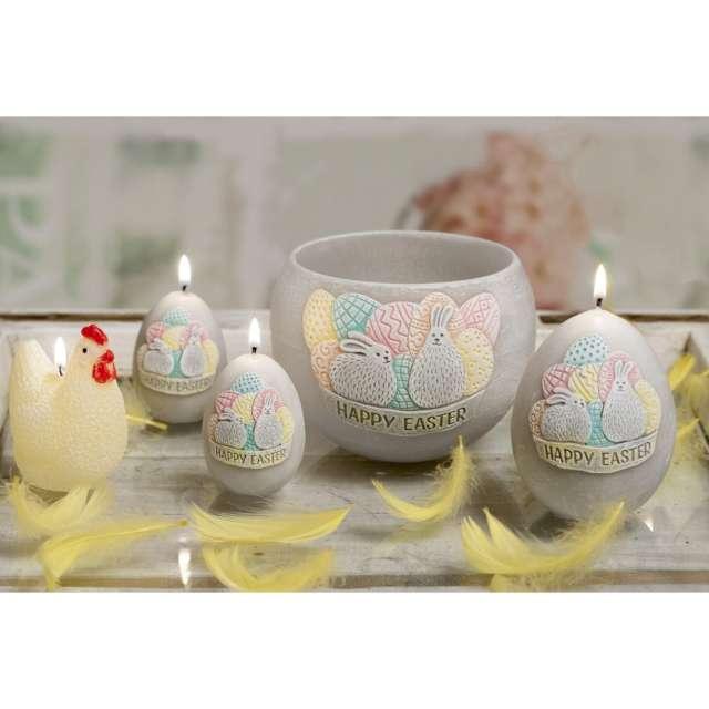 Świeca Wielkanoc - Happy Easter szara Bartek-Candles 45/60 mm