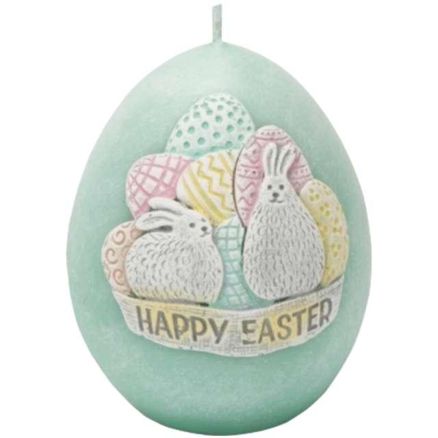 """Świeca """"Wielkanoc - Happy Easter"""", niebieski tiffany, Bartek-Candles, 70/100 mm"""
