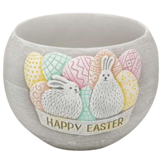 "Lampion ""Wielkanocna kula Happy Easter"", szara, Bartek-Candles, 120 mm"