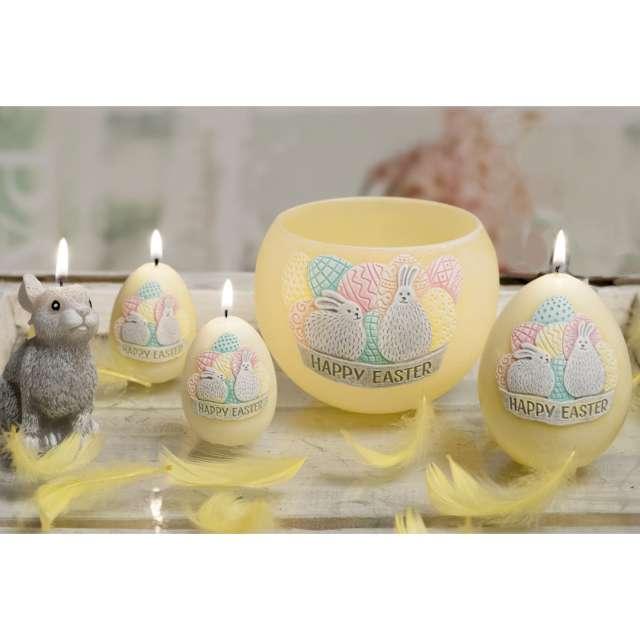 Lampion Wielkanocna kula Happy Easter żółty Bartek-Candles 120 mm