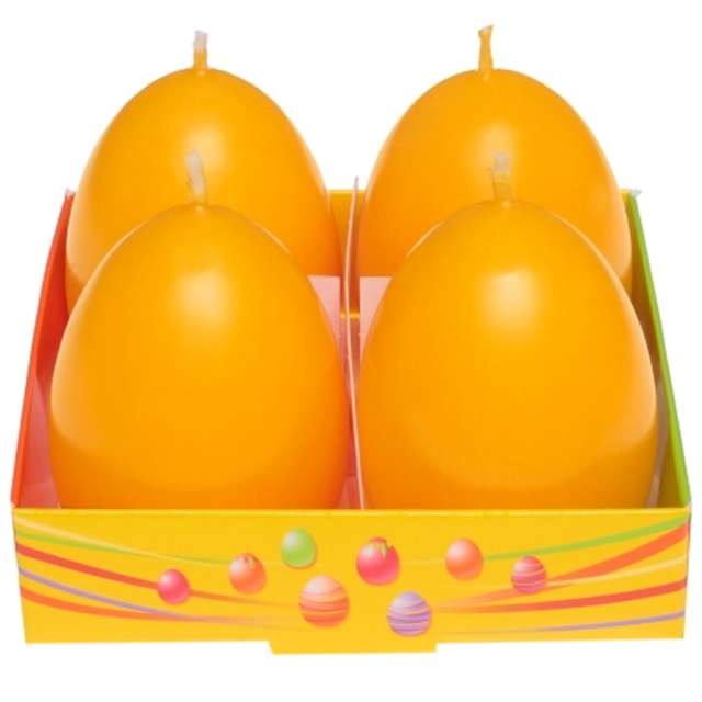 "Świeca ""Wielkanoc - pastelowe jajko"", zółta, Bartek-Candles, 60 mm, 4 szt."