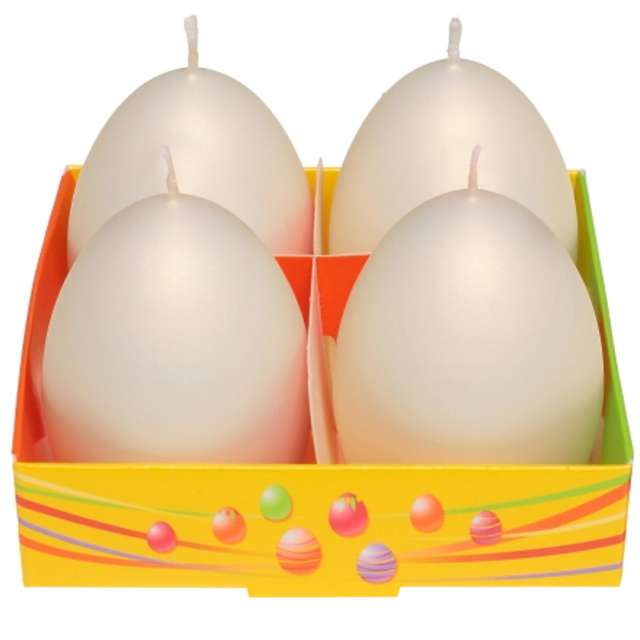 "Świeca ""Wielkanoc - matowe jajka"", ecru, Bartek-Candles, 60 mm, 4 szt."