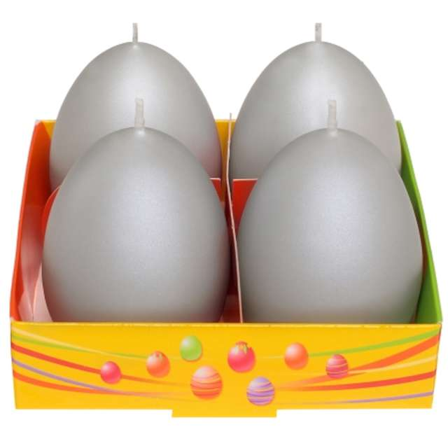 Świeca Wielkanoc - matowe jajka szary Bartek-Candles 60 mm 4 szt.