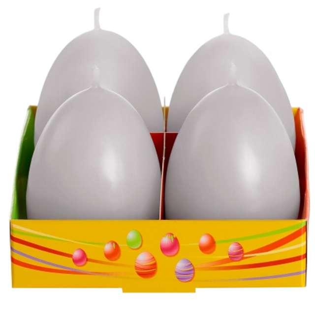 "Świeca ""Wielkanoc - pastelowe jajko"", szary, Bartek-Candles, 60 mm, 4 szt."