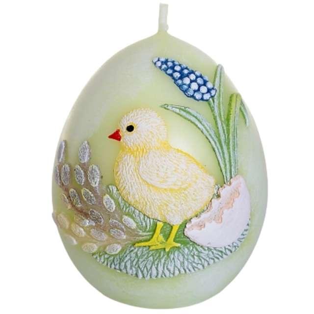 """Świeca """"Wielkanoc - jajko z kurczakiem"""", seledynowa, Bartek-Candles, 100 mm"""