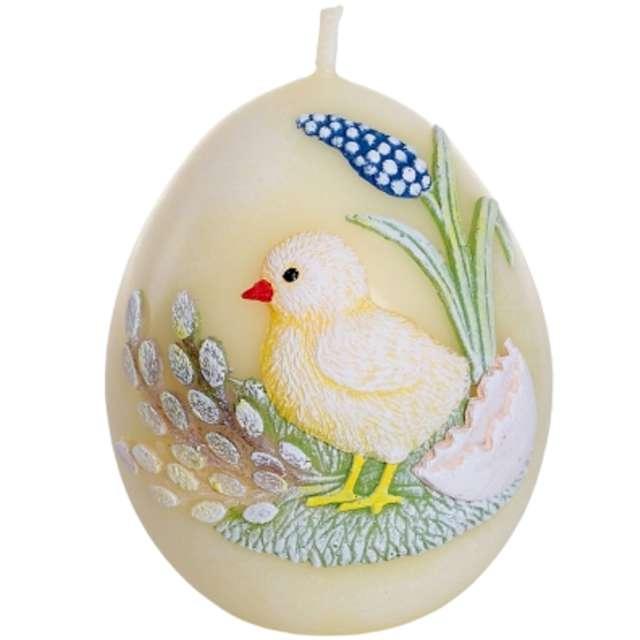 "Świeca ""Wielkanoc - jajko z kurczakiem"", żółta, Bartek-Candles, 100 mm"