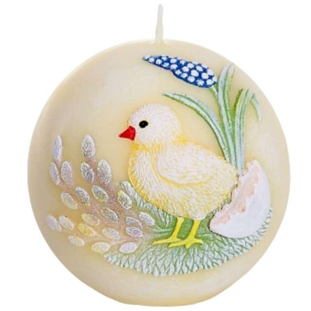 "Świeca ""Kula z kurczakiem"" (FI 80) żółta, Bartek-Candles"