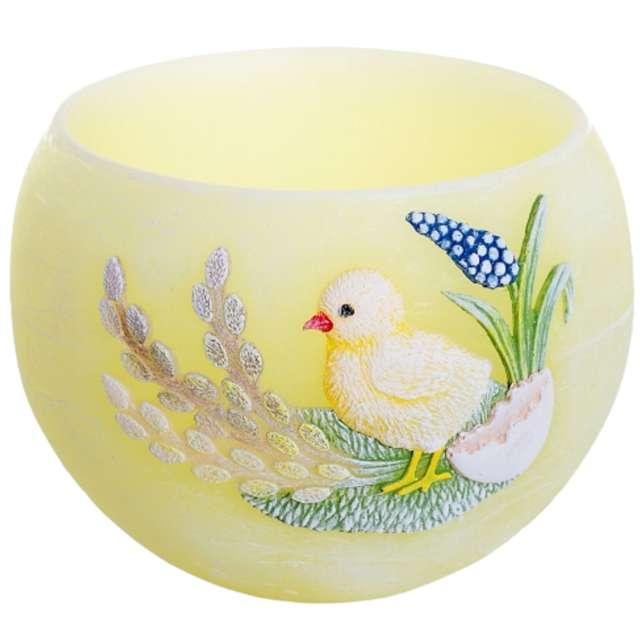 """Lampion """"Wielkanocna kula z kurczakiem"""", żółty, Bartek-Candles, 120 mm"""