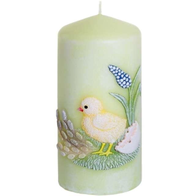 """Świeca pieńkowa """"Wielkanoc z kurczakiem"""", seledynowy, Bartek-Candles, 130 mm"""