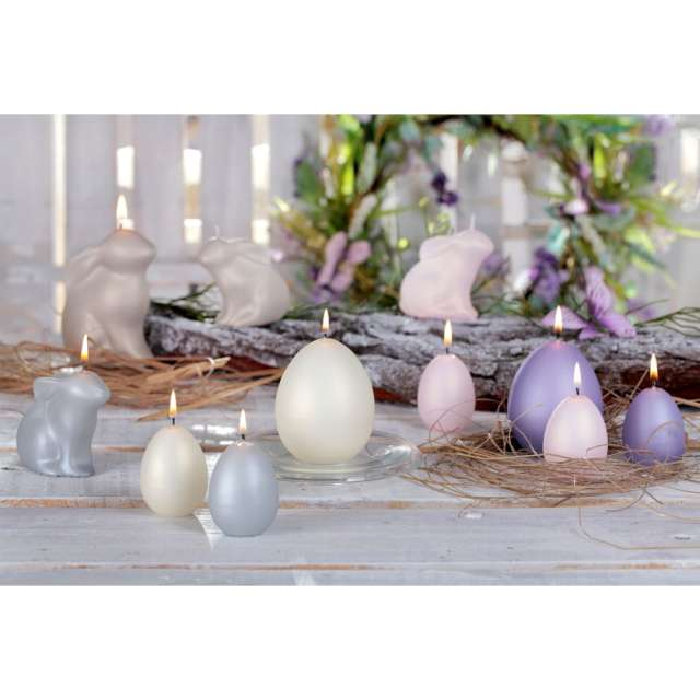 Świeca Wielkanoc - matowy zajączek szary Bartek-Candles 120 mm