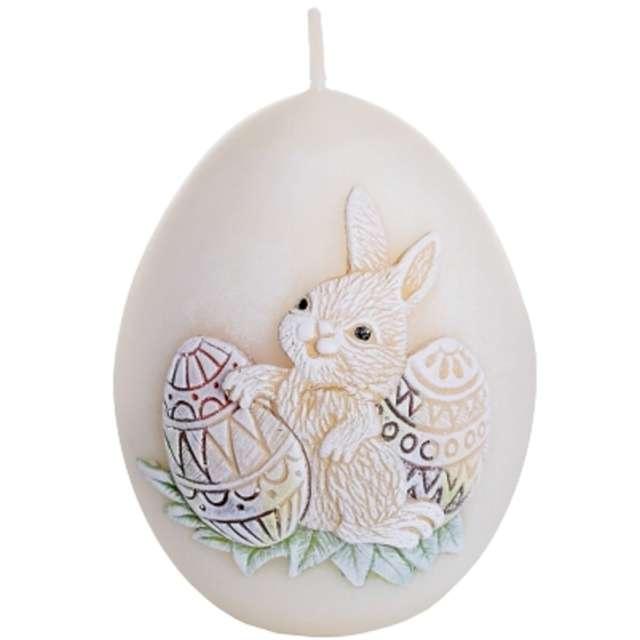 """Świeca """"Wielkanoc - jajko z zajączkiem"""", kość słoniowa, Bartek-Candles, 100 mm"""