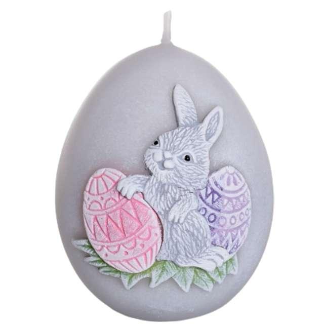 """Świeca """"Wielkanoc - jajko z zajączkiem"""", szaro-różowa, Bartek-Candles, 100 mm"""