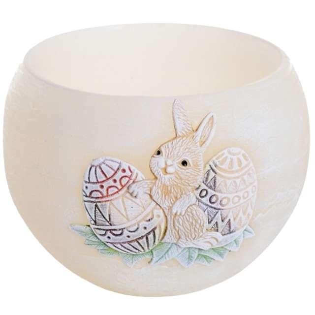 """Lampion """"Wielkanocna kula z zajączkiem"""", kość słoniowa, Bartek-Candles, 120 mm"""