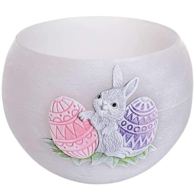 """Lampion """"Wielkanocna kula z zajączkiem"""", szaro-różowy, Bartek-Candles, 120 mm"""