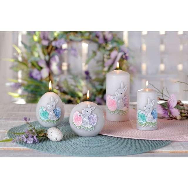 Lampion Wielkanocna kula z zajączkiem szaro-różowy Bartek-Candles 120 mm