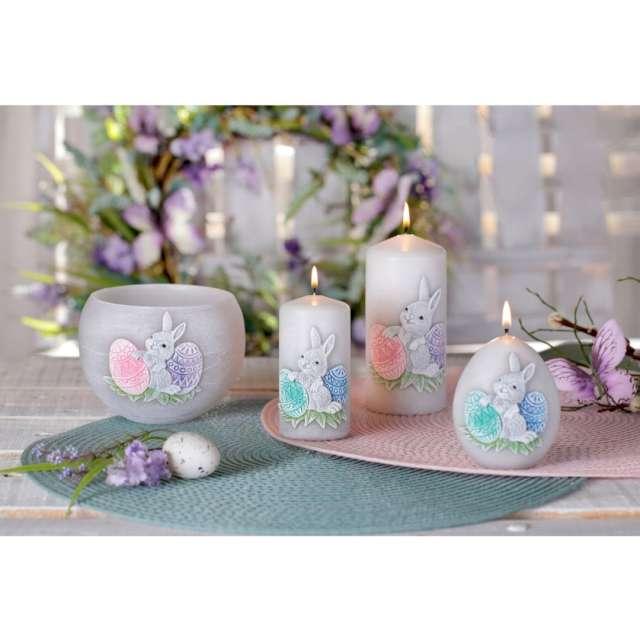 Świeca Kula z zajączkiem (FI 80) szaro-różowa Bartek-Candles
