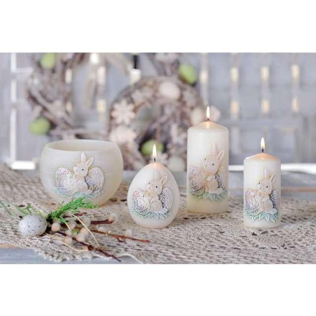 Świeca pieńkowa Wielkanoc z zajączkiem kość słoniowa Bartek-Candles 130 mm