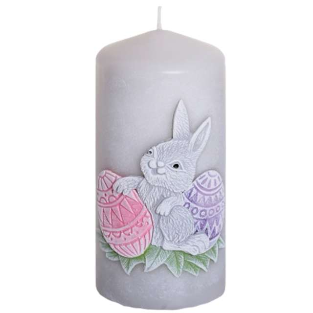 """Świeca pieńkowa """"Wielkanoc z zajączkiem"""", szaro-różowa, Bartek-Candles, 130 mm"""