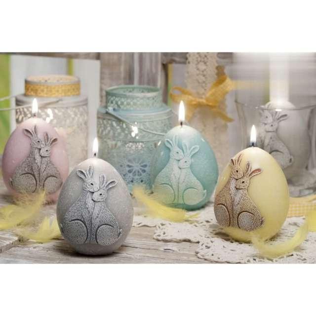 Świeca Wielkanoc - jajko z zajączkami różowa Bartek-Candles 100 mm