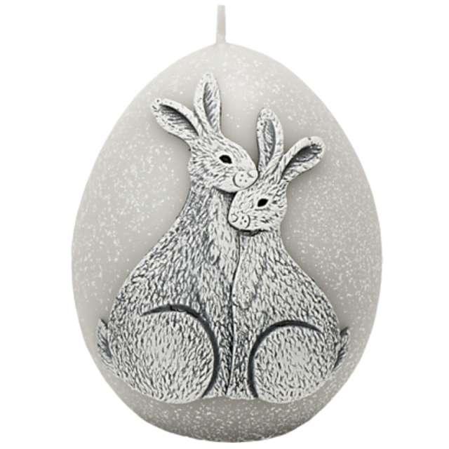 """Świeca """"Wielkanoc - jajko z zajączkami"""", szara, Bartek-Candles, 100 mm"""