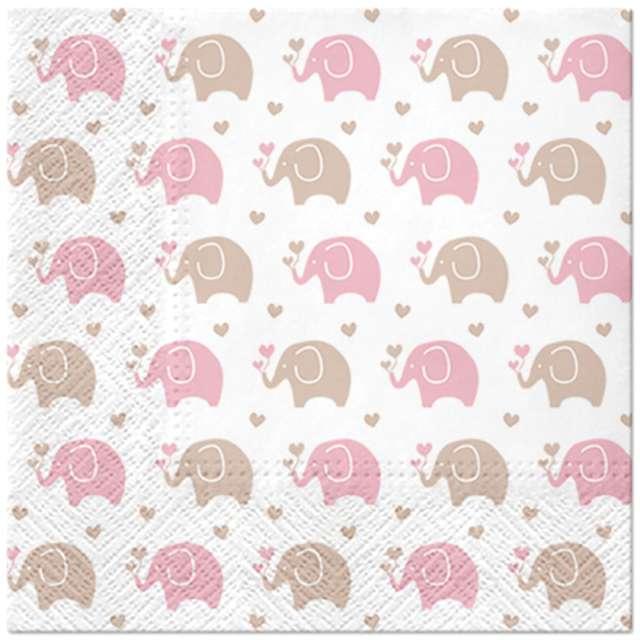 Serwetki Różowe słoniki Paw 33 cm 20 szt