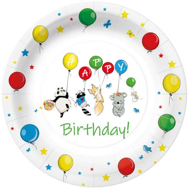 """Talerzyki papierowe """"Happy Birthday baloniki"""", PAW, 23 cm, 10 szt"""