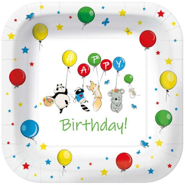"""Talerzyki papierowe """"Happy Birthday baloniki"""", kwadratowe, PAW, 23 x 23 cm, 10 szt"""