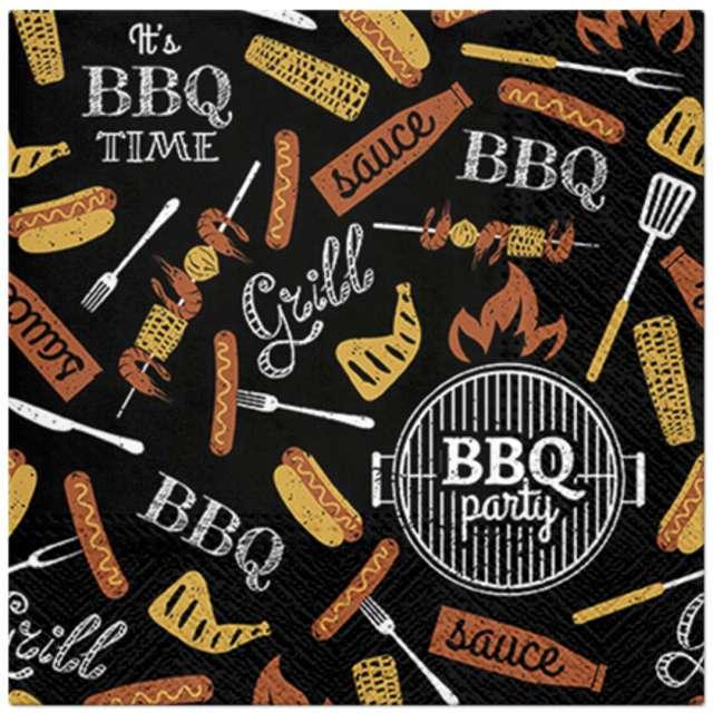 _xx_BBQ PARTY - black lunch napkin 33 x 33 cm