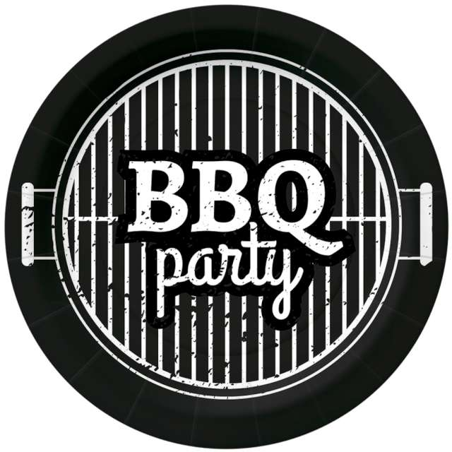 _xx_BBQ PARTY - black paper plate (O) 18 cm
