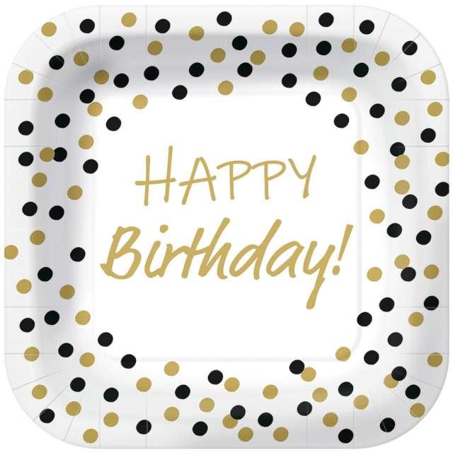 """Talerzyki papierowe """"Happy Birthday - złote konfetti"""", białe, kwadratowe, PAW, 23 x 23 cm, 10 szt"""
