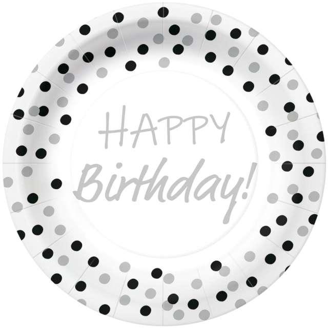 """Talerzyki papierowe """"Happy Birthday - srebrne konfetti"""", białe, PAW, 23 cm, 10 szt"""