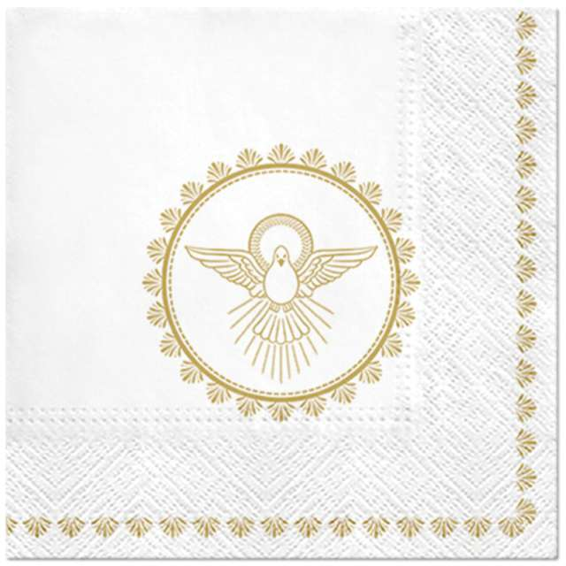 """Serwetki """"Chrzest Święty - gołąb"""", białe, Paw, 33 cm, 20 szt"""