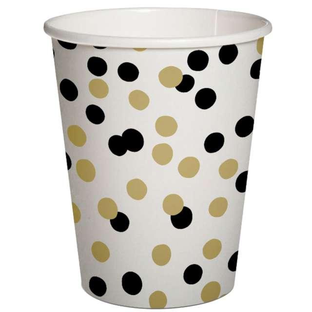 """Kubeczki papierowe """"Czarno-złote konfetti"""", PAW, 250 ml, 10 szt"""