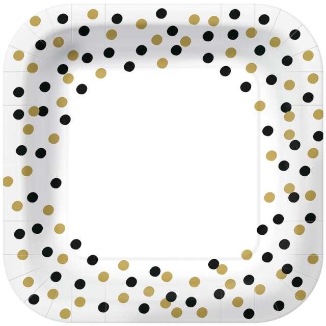 """Talerzyki papierowe """"Czarno-złote konfetti"""", białe, kwadratowe, PAW, 23 x 23 cm, 10 szt"""