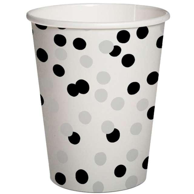 """Kubeczki papierowe """"Czarno-srebrne konfetti"""", PAW, 250 ml, 10 szt"""