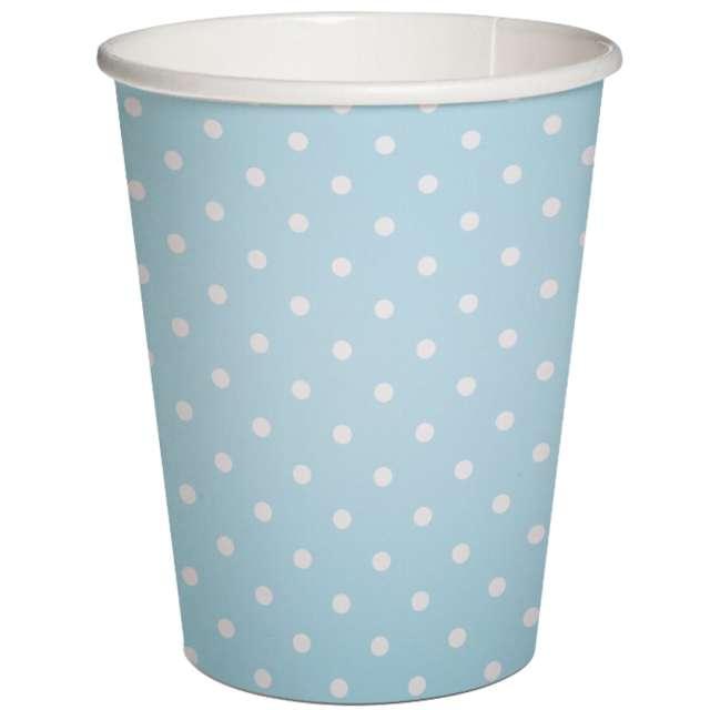 """Kubeczki papierowe """"Białe kropki"""", błękitne, PAW, 250 ml, 10 szt"""