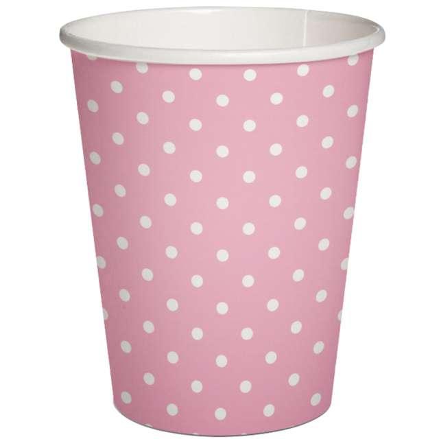 """Kubeczki papierowe """"Białe kropki"""", różowe, PAW, 250 ml, 10 szt"""