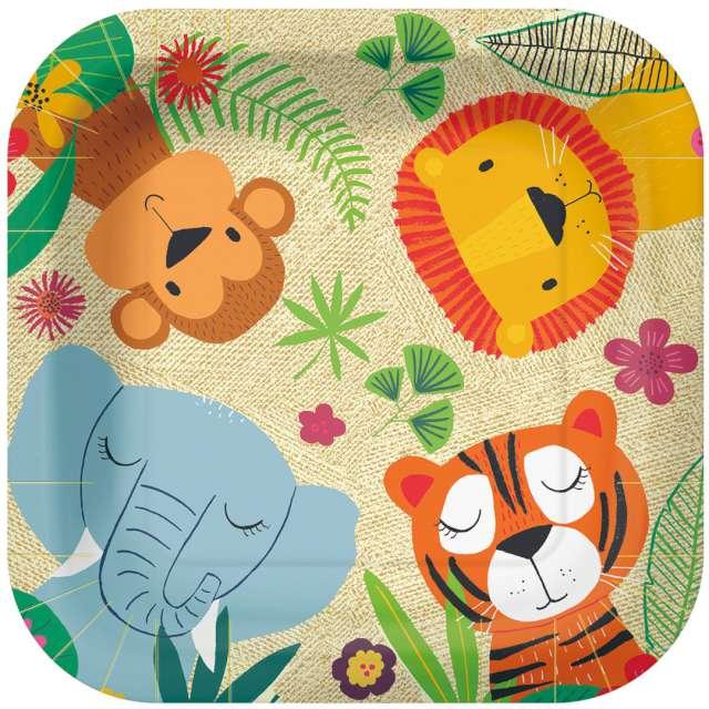 """Talerzyki papierowe """"Zwierzęta dżungli"""", kwadratowe, PAW, 23 x 23 cm, 10 szt"""