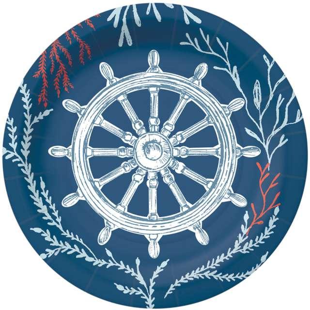 """Talerzyki papierowe """"Marynarski świat"""", granatowe, PAW, 18 cm, 10 szt"""
