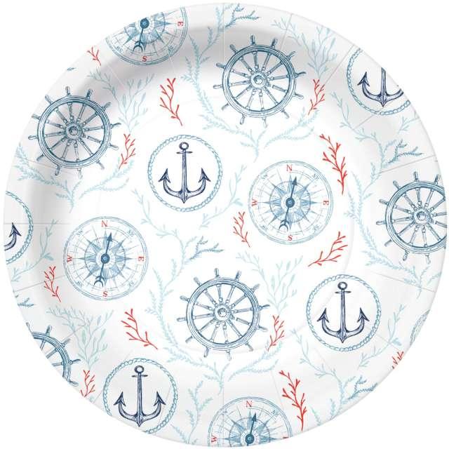 """Talerzyki papierowe """"Marynarski świat"""", białe, PAW, 23 cm, 10 szt"""