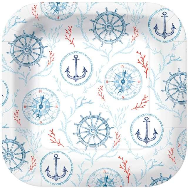 """Talerzyki papierowe """"Marynarskie"""", białe, kwadratowe, PAW, 23 x 23 cm, 10 szt"""