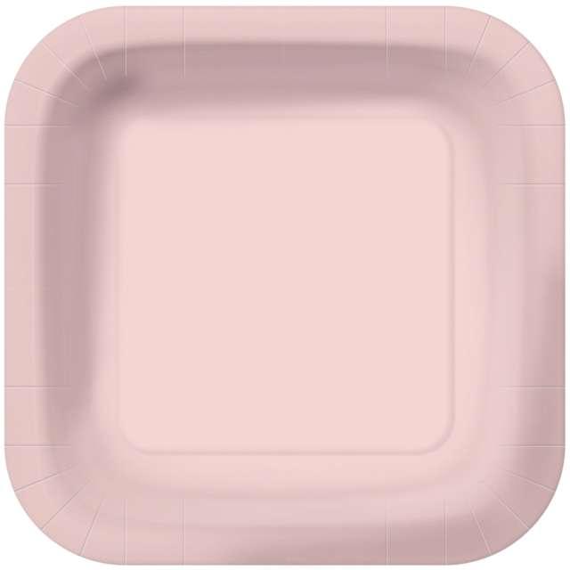 """Talerzyki papierowe """"Classic - Kwadratowe"""", róż pastelowy, Paw, 23 cm, 10 szt"""