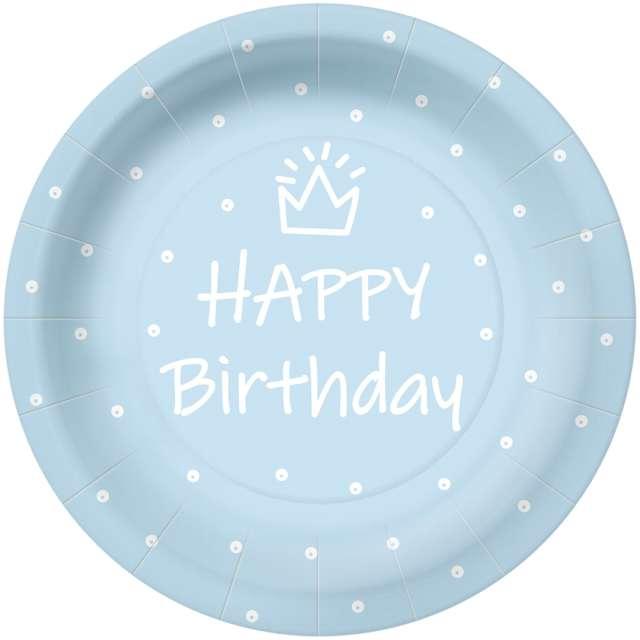 """Talerzyki papierowe """"Happy Birthday kropki"""", błękitne, PAW, 23 cm, 10 szt"""