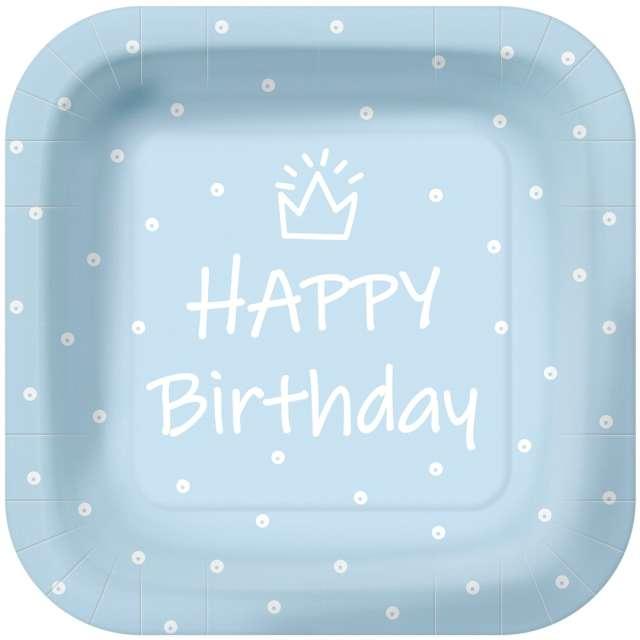 """Talerzyki papierowe """"Happy Birthday kropki"""", błękitne, kwadratowe, PAW, 23 x 23 cm, 10 szt"""