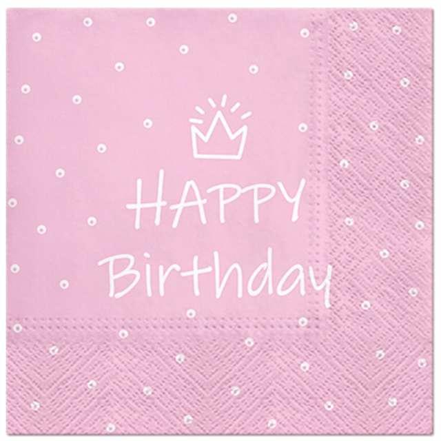 """Serwetki """"Happy Birthday kropki"""", różowe, 33 cm, 20 szt"""