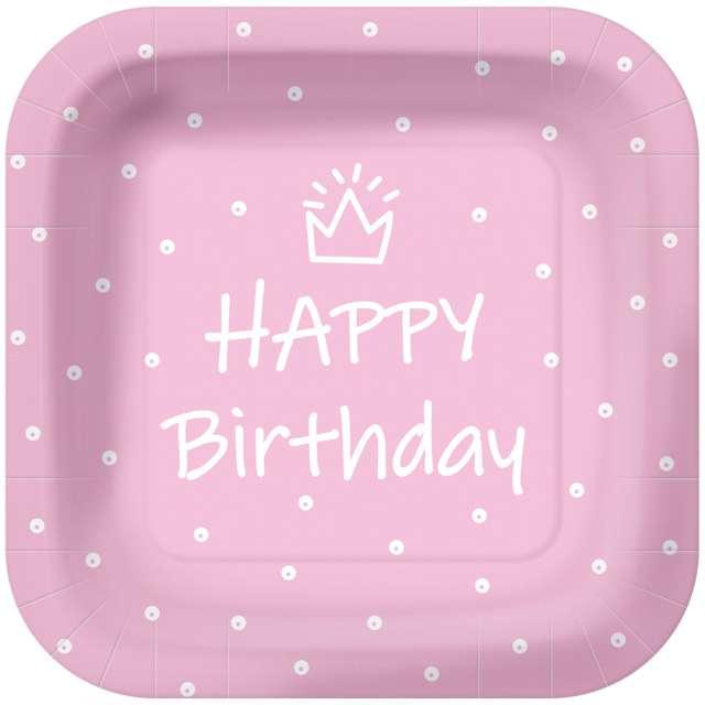 """Talerzyki papierowe """"Happy Birthday kropki"""", różowe, kwadratowe, PAW, 23 x 23 cm, 10 szt"""