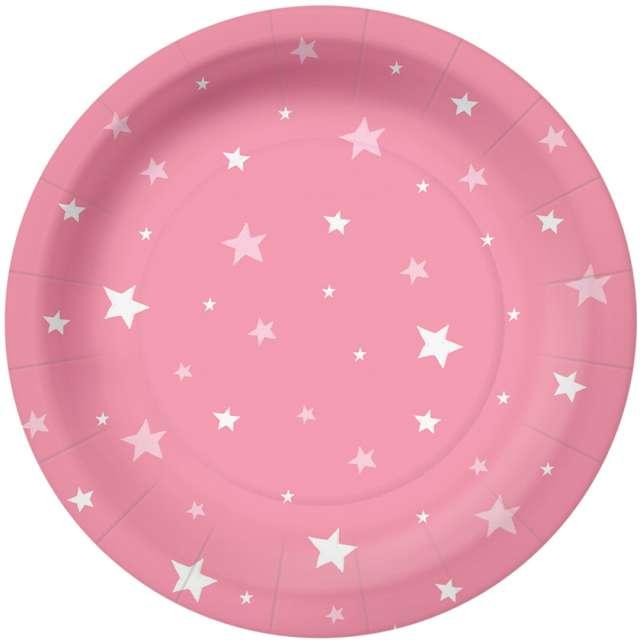 """Talerzyki papierowe """"Gwiazdki"""", różowe, PAW, 18 cm, 10 szt"""